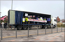Fracking supporters on a lorry